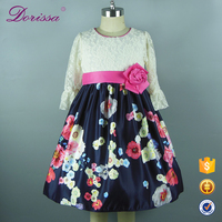 high quality half sleeve gown formal flowers and butterflies pattern dress elegant baby girls dancing dresses flower girls