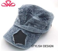 WLA828-1 100%Cotton canvas classic denim blue appliqu five-pointed star chauffeur hat