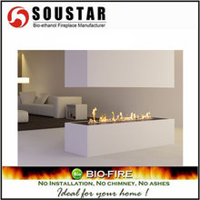 Hot New Indoor Fashion SS burner non electric ethanol corner fireplace