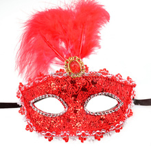 Bling flower lady mas feathers plastic masquerade mask