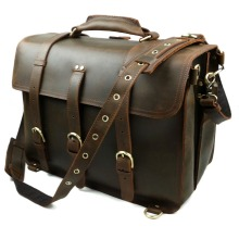 Crazy Horse Leather Men's Brown Briefcase Laptop Bag Messenger Tote bag
