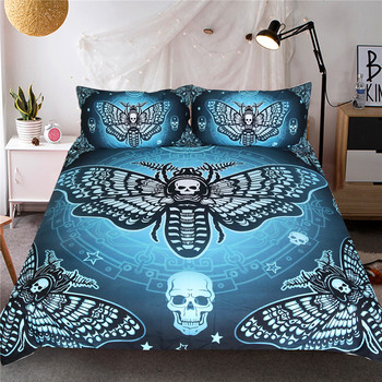 Death Moth Bedding Set Gothic Skull Duvet Cover Set Butterfly 3-Piece Blue Stars Double Bedclothes