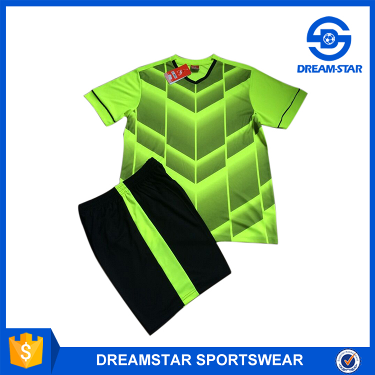 2016 Latest Style Fluorescent Green Soccer Training Suit