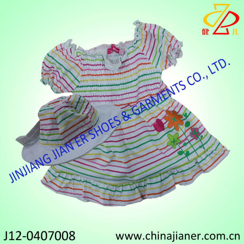 2014 new arriver baby wear 100% cotton baby girl puffy dresses