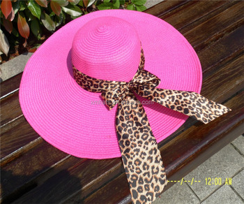women ribbon decoration wide brim straw hats
