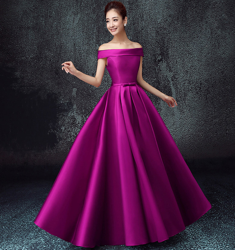 Off Shoulder Satin Solid Color Pleat Traditional Bridesmaid Dress ...