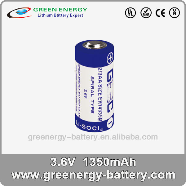 3.6v primary lithium thionyl chloride battery 2/3 AA ER14335M