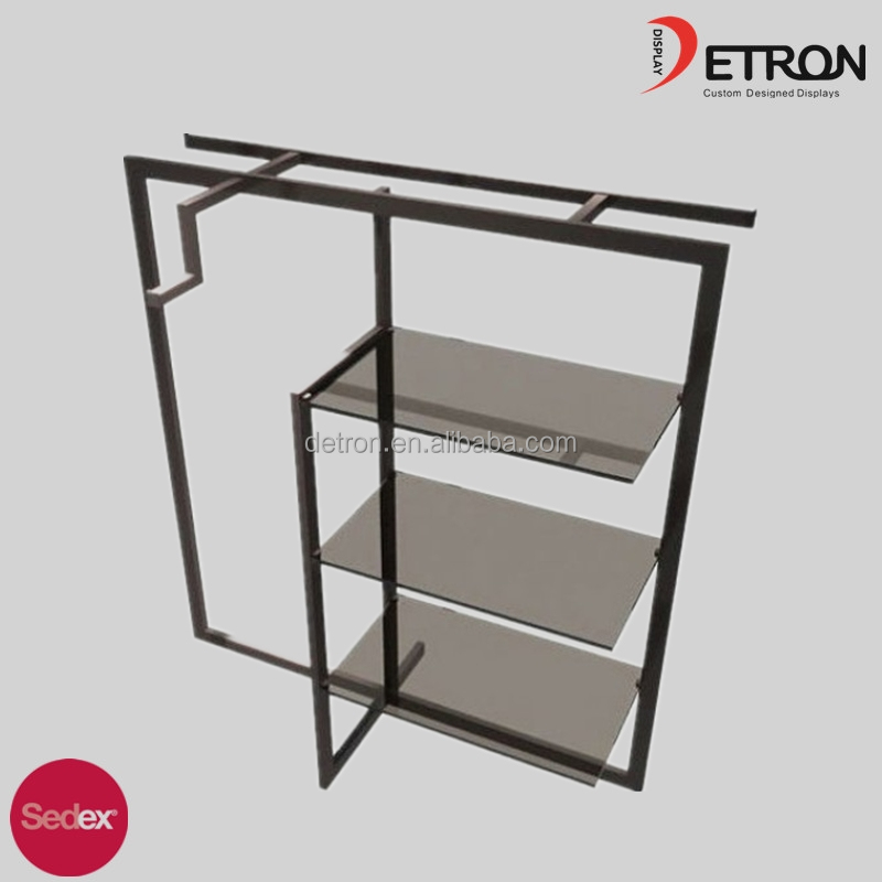 4 layer stainless steel metal clothes display rack, clothes glass display stand