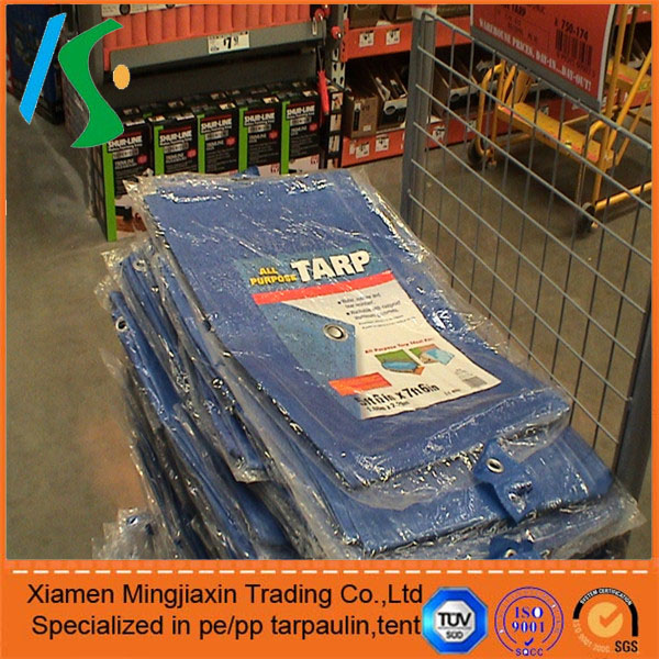 Plastic factories China PE Tarpaulin Stocklot blue tarpaulins