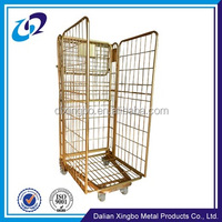 Storage metal foldable transport rolling cage