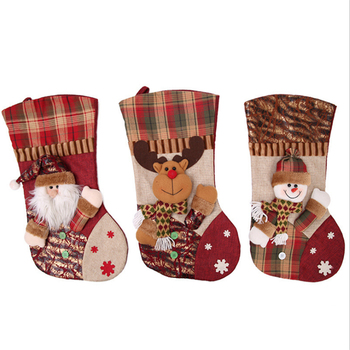 High quality lattice design knitted christmas stocking