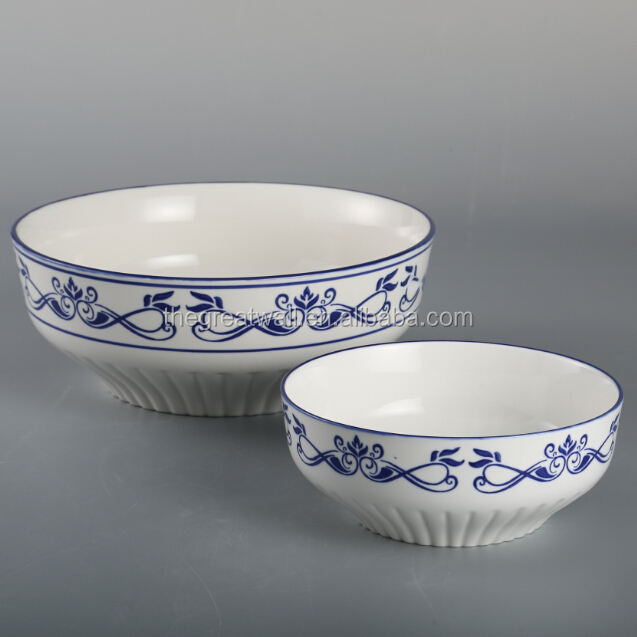 Blue and white ceramic salad bowl, soup bowl, stoneware mixing bowl set