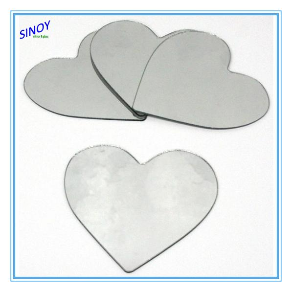 Fine processed small heart shape mirrors, small mirror heart, heart shape craft mirror