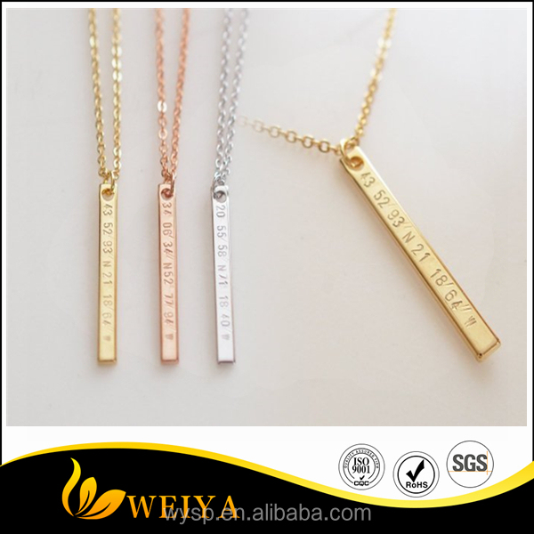 Personalized Stainless Steel Name Palte <strong>Necklace</strong> Vertical Bar Engraved <strong>Necklace</strong> Gold