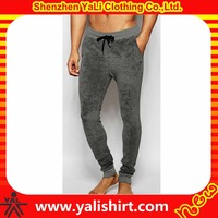Custom made plain cheap drawstring three pockets stretch velvet tight design your own joggers