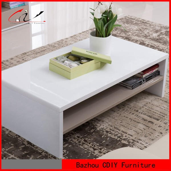 Modern white high gloss two levels coffee table buy for Buy modern coffee table