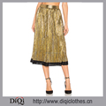 Top Fashion Ladies Skirt Top Supplier in China Zipped Metallic Pleated Midi Skirts Women