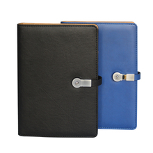 MIDU M-M3 Personalized PU Leather Cover Folder Custom Diary Printing Notebook With Mobile Power Bank USB