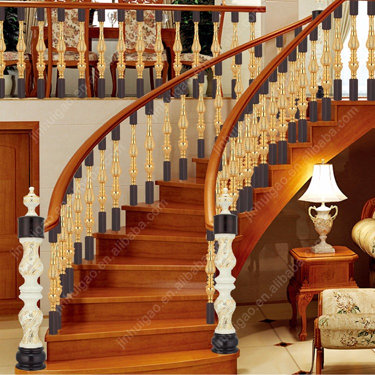Antique brass aluminum handrail for staircase