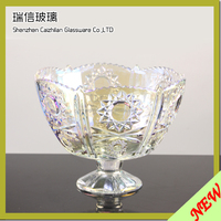 Sliver Decorative Colored Colorful Glass Serving Sugar Candy Bowl With Stand Lid