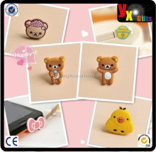 Custom Cute cartoon design pvc dust plug for samsung galaxy s4 with screen wiper and pendant