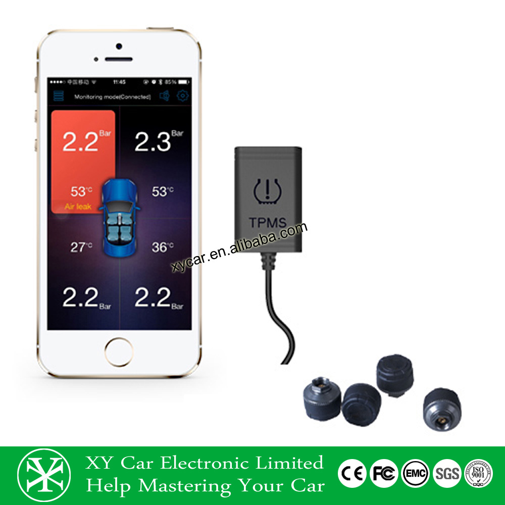 Tire pressure monitor system with internal sensor or external sensor, tire pressure gauge for Mobile phone XY-TP8380NE