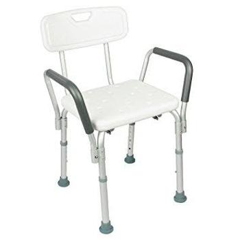 Tool-free Assembly 4 Legs Adjustable Square Shower Chair