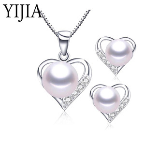 YIJIA Heart Necklace 4 Colors Natural Pearl Fashion Jewelry True Love 925 Sterling Silver Jewelry For Women Necklace High Luster