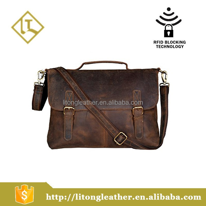 Vintage Buffalo Leather Men's Bag Crazy Vintage Leather Messenger Briefcase Bag
