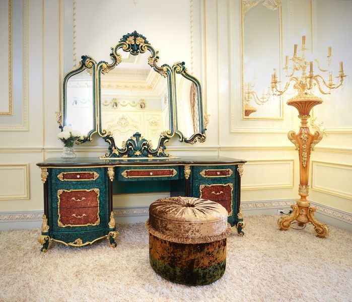 Neo-Classic French Style Peacock Green Bedroom Furniture Wooden Carving Dressing Table/ Antique Palace Dresser Makeup Table