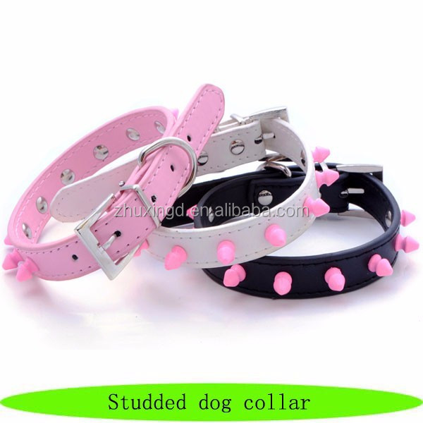 Fashion beautiful pink pet studded dog collar