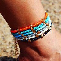 Natural crystal glass anklets multicolor seed bead anklets sun moon star beach anklets jewelry for women