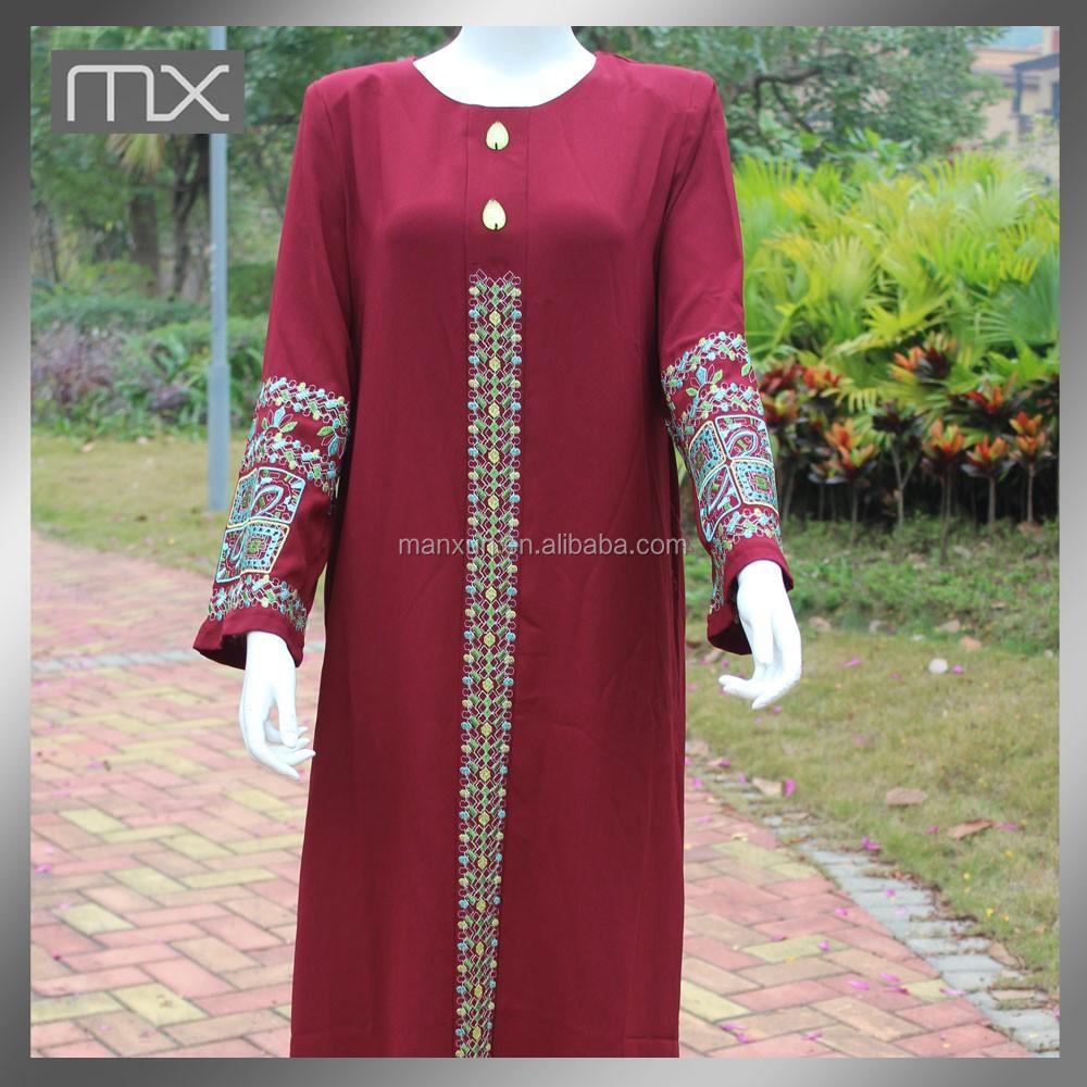 Dubai fancy maxi jurk vrouwen tuniek kurta borduren design for Islamitische sportkleding vrouwen