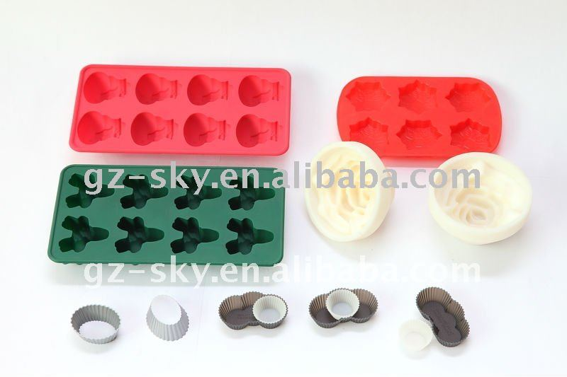 colorful flexible silicone ice cube tray