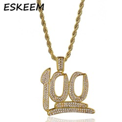 Keeping It Real 100 Number Pendant Necklace with Rope Chain Eskeem Hip-hop Jewelry