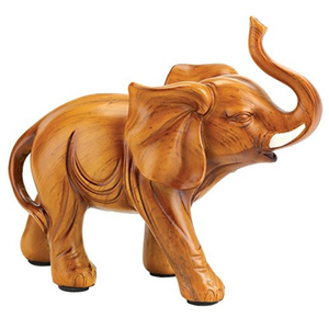 Roll over image to zoom in Gifts & Decor Gifts & Decor Lucky Elephant Wood Look Figurine Statue