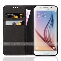 Factory Wholesale PU Leather Wallet Card Slots Case for Samsung Galaxy S6, For Samsung Case