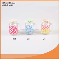 Food grade double wall plastic mason jar tumbler with straw and handle With different color designs