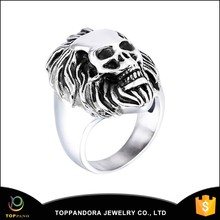 316L wholesale stainless steel investment casting skull biker ring