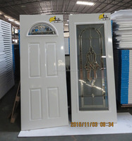 Classic decorative glass insert steel door