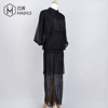 OEM Mesh Black Dress Elegant Half Sleeve Long Party Evening Dress