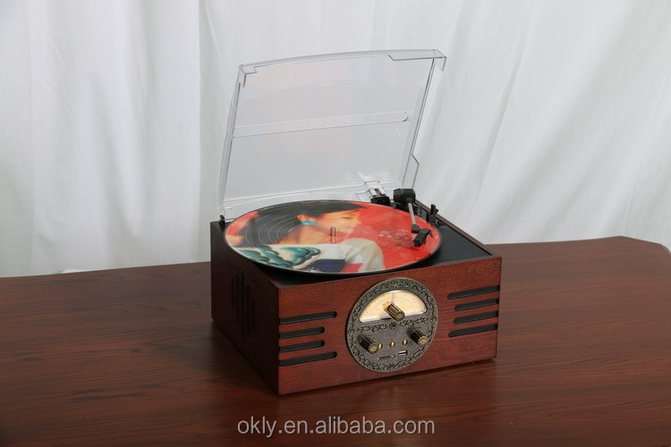Retro Vinyl Record Player wooden Design Turntable Gramophone Player Wholesale