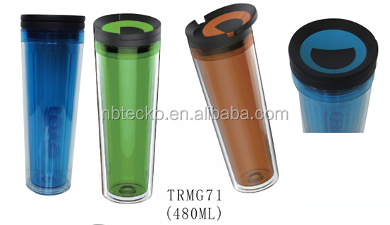 Different colors double wall plastic sports drink bottle with removable cover