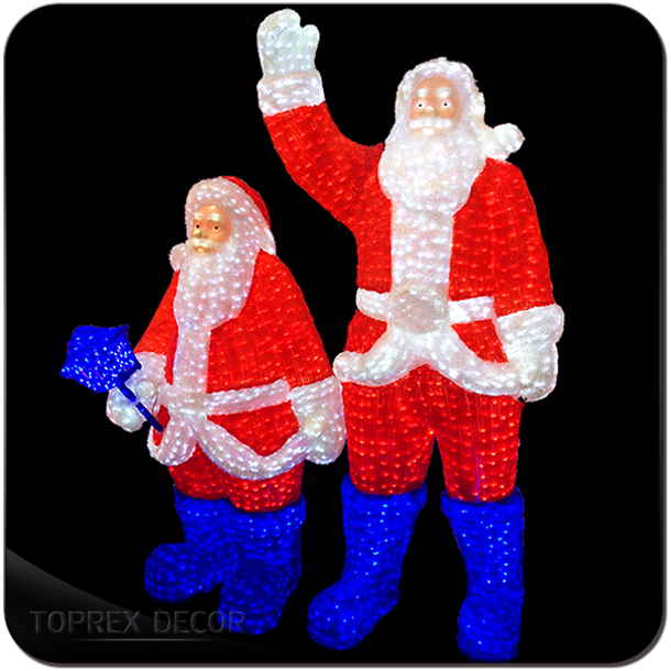 Multi Colored Acryl 3D Life Size Steady Brightly Low Voltage Acrylic LED Santa Light