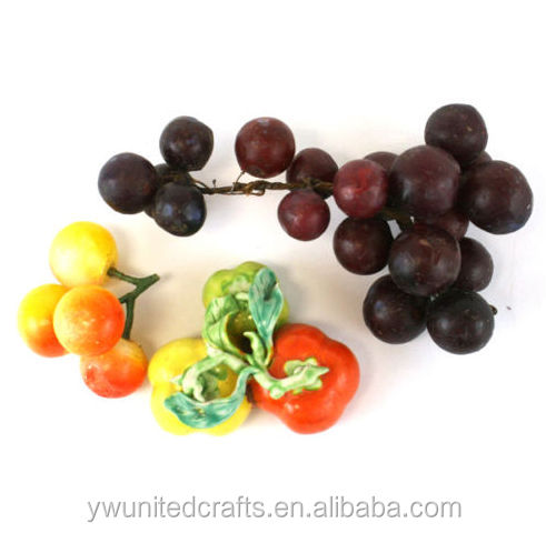 Artificial Fruit Lot - Wax Grapes/Marble Berries/Mini Ceramic Pumpkins Sculpture