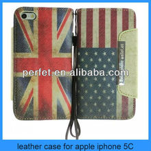 Wholesale English flag Flag Magnetic wallet Leather cover case for iphone 5c hot selling