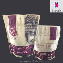 food grade packaging stand up kraft paper bag with zipper