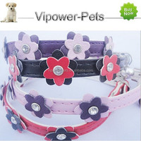 PU Leather Pet Collar Fashion Pet Dog Collar Rhinestone Flower Pet Collar Free Shipping