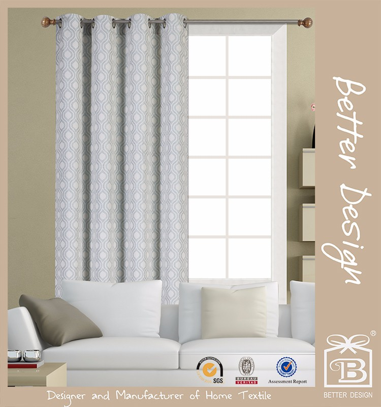 1pc Jacquard Abstract Pattern Fabric Curtain With 8 Grommets For Home