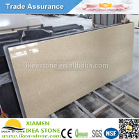 Crystal Sparkle Yellow Artificial Quartz Prefab Beige Man Made Stone Countertops